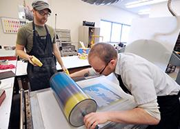 students working on printmaking project