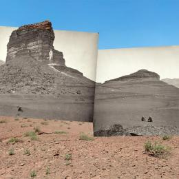 "Mark Klett and Byron Wolfe, ""Rock formations on the road to Lee's Ferry, AZ,"" 2008 Medium: Inkjet photograph, 36""x76"""