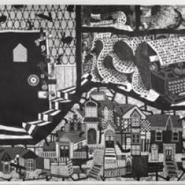"""Much of a Muchness"" 2012, Woodcut, 60 x 276"""