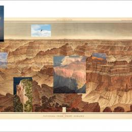 "Mark Klett and Byron Wolfe, ""Details from the view at Point Sublime on the north rim of the Grand Canyon, based on the panoramic drawing by William Holmes (1882),"" 2007 Medium: Inkjet photograph, 24""x96"""
