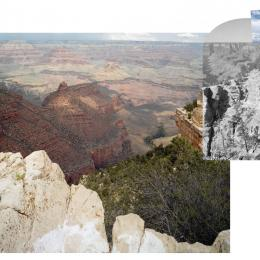 "Mark Klett and Byron Wolfe, ""View from the south rim of the Grand Canyon with Thomas Moran and California Condor number 302."" 2007 Medium: Inkjet photograph, 24""x36"""