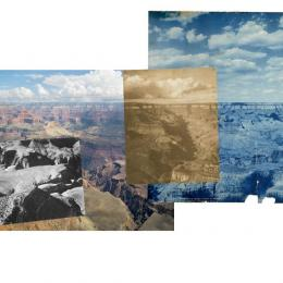 "Mark Klett and Byron Wolfe, ""One hundred and five years of photographs and seventeen million years of landscapes; Panorama from Yavapai Point on the Grand Canyon connecting photographs by Ansel Adams, Alvin Langdon Coburn, and the Detroit Publishing Company."" 2007 Medium: Inkjet photograph, 36""x88"""