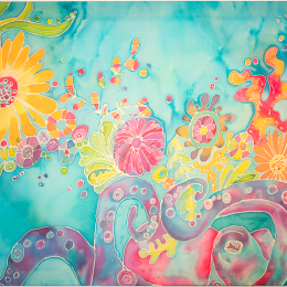 """""""Octopus Garden"""" Hand painted china silk. 32 x 44 in"""