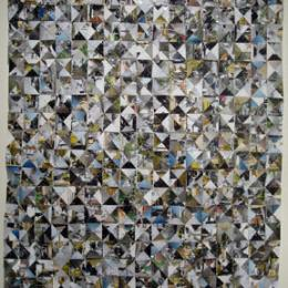 """Capsule"" 2009. Pieced photographs, staples. 40 x 30"""