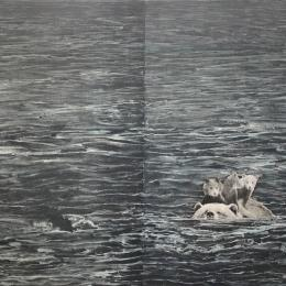 Swimming. 2015, photogravure and white ground aquating, traditional dust grain method on copper, 18 x 36″