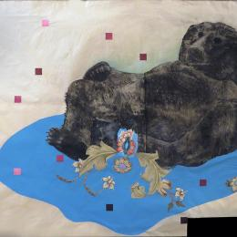 Birth of Consciousness. 2015, white ground aquatint with colle and collage, 42 x 60""