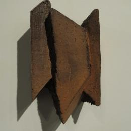 """Breaks"" 2014. Stoneware, oxide, soda fired. 14"" x 7.5"" x 6"""