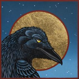 """Raven Icon"", 2013, Oil and Gold on Panel, 6"" x 6"""