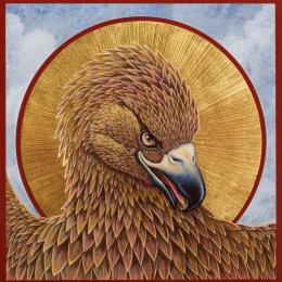 """Eagle Icon"", 2016, Egg Tempera and Gold on Panel, 6"" x 6"""
