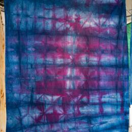 red blue tie-dye fabric