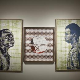 """Unruly Disconnections"" 2015. Laser engraved relief print 90'' x 35'' (Triptych)"