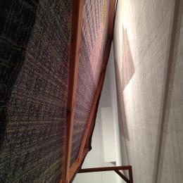 Erika Hanson portfolio piece - Woven linen and lurex stretched over redwood installation
