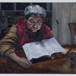 Hye Young Yun, Grandmother and the bible, Oil on canvas, 2017.