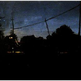 """Black and Blue, Between Day and Night"" 2012. Oil on panel. 7.5"" x 14"""