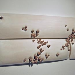 """Divide"" 2010. Basswood, porcelain, kanthol wire,bleach, wax, glaze. 8' x 4' x 8"""