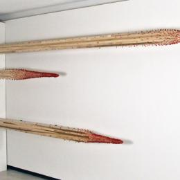 """Salvage"" 2010. Poplar, porcelain, kanthol wire, cast iron, drywall ccrews, rubber. 12' x 6"" x6"""