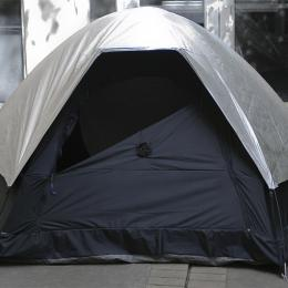 Itinerant Camera Obscura. 2010. Rubberized nylon, aluminum Tyvek, plastic lens, tent poles. 2-person size tent