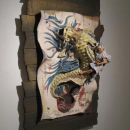 """Super Fresh Canned Fish"" 2013. Ceramics, wood. 26"" x 31"" x 10"""