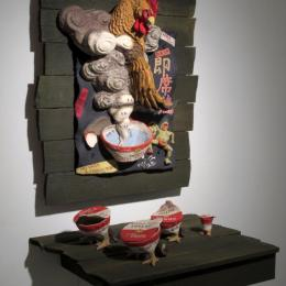 """Instant Real Chicken"" 2014. Ceramics, wood. 24"" x 32"" x 14"""