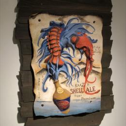 """Kaaz's Shell Ale"" 2013. Ceramics, wood. 22"" x 30"" x 4"""