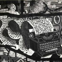 """Much of a Muchness"" (Detail). 2012, Woodcut, 60 x 276"""