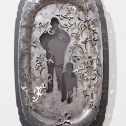 """""""Father and Son"""" 2010. Found antique silver platter, copper. 11"""" x 6"""" x 1"""""""