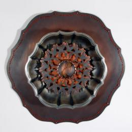 """Lock for a Lost Love"" 2008. Found antique silver platter, copper, glass, embroidery, pearls, human hair. 12"" x12"" x 2"""