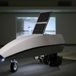 """Tranquility"" Solar-powered mock space rover. 2012. Mixed media. 96"" x 36"" x 40"""