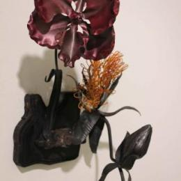 """Frilled Orchid & Sun Claw"" 2012. Iron, Steel, Rubber, & powder coat. 2' x 1' x 1'"