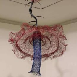 """Sombrero Flower"" 2012. Iron, Steel, Rubber, & powder coat. 6' x 4' x 4'"