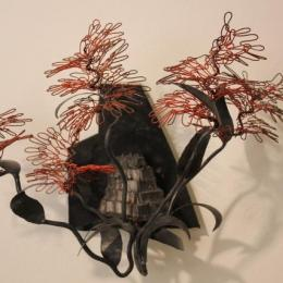 """Fire Duster"" 2012. Iron, Steel, Rubber, & powder coat. 1.5' x 1' x 1'"