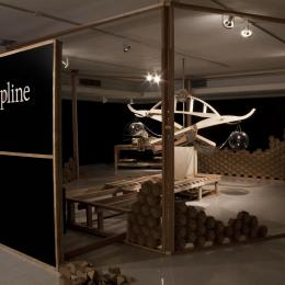 """Discipline"" Fall 2014. Wood, Metal, Plastic, Oil, Arduino. 36' x 36' x 36'"