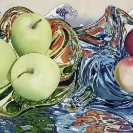 """Waves of Color with Floating Fruit"" 2009. Watercolor. 18"" x 27"""