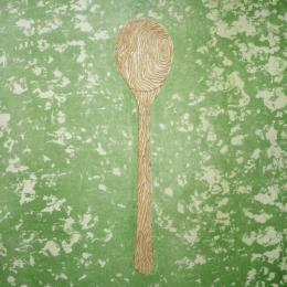 """Wooden Spoon, '99"" Stone Lithograph. 2013."