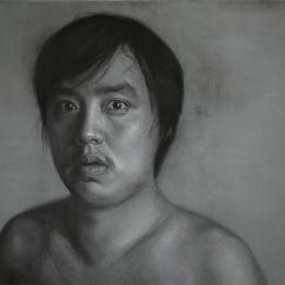 "Self-portrait. 2015. Charcoal on canvas. 36""×48"""