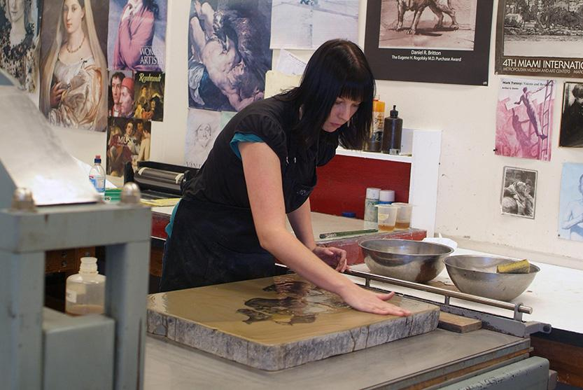 School of Art printmaking student working on project